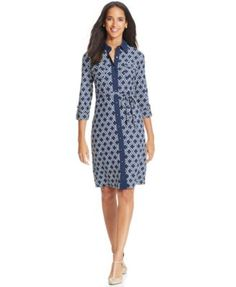 Charter Club Three-Quarter-Sleeve Printed Shirtdress | macys.com