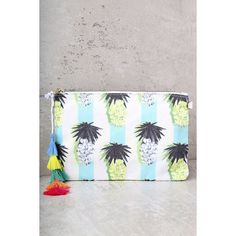 Colada Ivory Pineapple Print Clutch ($29) ❤ liked on Polyvore featuring bags, handbags, clutches, white, multi colored handbags, tassel handbag, colorful purses, pocket purse and lulu handbags