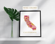 California map print USA state poster state map print modern wall art USA prints map pink gold mosaic map California art print CA poster