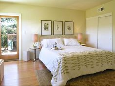 Botanical colors and prints in light green and yellow shades give bedrooms a spring-like, peaceful feel. Here, Larry Taylor, a San Francisco Bay Area home stager, replaced a brown color scheme and whitewalls with a pale yellow-green wall, a white duvet with subtle green accents, botanical prints on the wall and a knot of flowers on the nightstand.