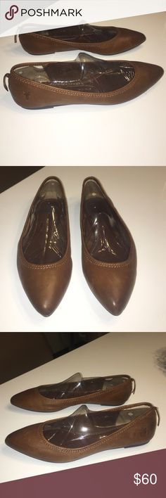 Great condition Frye brown leather flats shoes 9 Great condition Frye brown leather flats shoes size 9 light marks and light creasing in leather Frye Shoes Flats & Loafers