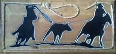 Wood Carved Sign - Team Ropers w/ Rope Trim- 1'x2' Oak Finish $25 plus shipping.