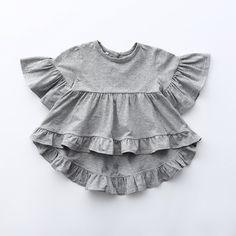 Leah ~ Grey Frill Tee (toddler)