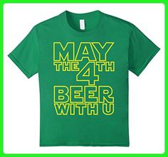 Kids May the 4th Beer with u Funny Drinking Party T-Shirt 12 Kelly Green - Food and drink shirts (*Amazon Partner-Link)