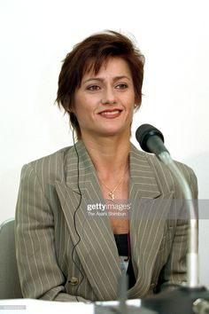 Former world champion Nadia Comaneci speaks during a press conference ahead of the Artistic Gymnastic World Championships at Sun Dome Sabae on September 1995 in Sabae, Fukui, Japan. Nadia Comaneci, World Championship, Gymnastics, Conference, Beauty, Friends, Beleza, World Cup, Boyfriends