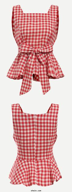 Red Checkerboard Self Tie Peplum Top. By shein.