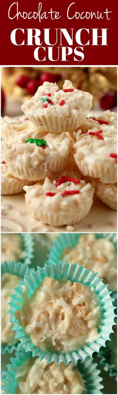 Coconut Crunch Chocolate Cups Recipe - a super easy homemade candy recipe for white chocolate and coconut lovers! You will love these crunchy cups! Candy Recipes, Sweet Recipes, Holiday Recipes, Dessert Recipes, Holiday Foods, Christmas Recipes, Dessert Ideas, Cookie Recipes, Snack Recipes
