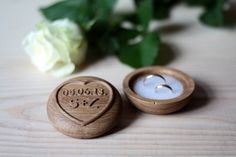 Custom wooden wedding ring box with carved initials and date.    The box is made from oak wood. The box is finished with wax , which gives it a sof...