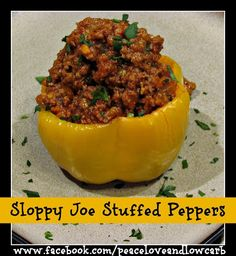 Sloppy Joe Stuffed Peppers from peaceloveandlowcarb.com