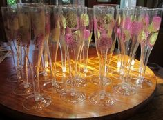 Paint glasses with glitter. New years eve or 21st birthday party