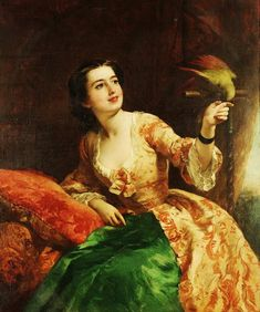 William Powell Frith (British, 1819-1909) - The green parrot