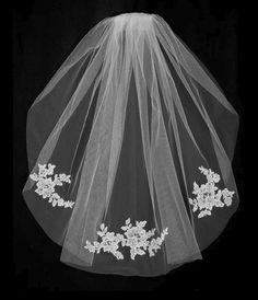 Ivory Floral Lace Applique Fingertip Wedding Veil   Etsy Tulle Wedding, Lace Weddings, Elegant Wedding, Spring Weddings, Cathedral Wedding Veils, Affordable Bridal, Budget Wedding, Wedding Planning, Romantic Lace