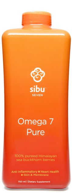 """""""Pure"""" is 100% pureed sea buckthorn berries, and nothing else….no water, no preservatives, no other juices added for flavor. Not only are you getting the entire benefit of the sea buckthorn berry and its 190 bioactive nutrients, you also get the most potent form of Omega 7 (aka Palmitoleic Acid) supplement on Earth. Vegan. Cruelty-free. Gluten-free. $39.95 at Sibu.com."""