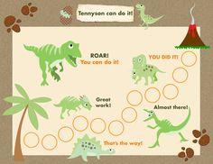 Printable Reward Chart for Children Personalized - Dinosaur Adventure! Jpeg or PDF Preschool Reward Chart, Printable Reward Charts, Reward Chart Kids, Kids Rewards, Rewards Chart, Behavior Chart Toddler, Behaviour Chart, Dinosaur Images, Dinosaur Dinosaur