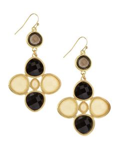 Ivory and Black Chandelier Earrings by Panacea at Last Call by Neiman Marcus.