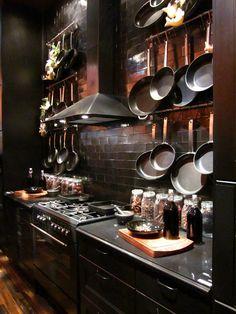 Dark kitchen, pots hanging on the black tiled wall - Fox Home Design Ikea Kitchen, Kitchen Interior, Kitchen Decor, Mens Kitchen, Interior Office, Stylish Kitchen, Interior Design Shows, Interior Modern, Gothic Interior