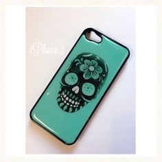 Giving consideration to picking this up.Black iphone 4S case Colorful Turquoise Dia de Los meurtos floral Sugar Skull Iphone case cover skin