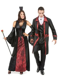 Red Vampire Couples Costumes for Adults: Dracula Halloween Costume for Women This vampire costume includes a dress, collar, crown and a pair of sleeves (shoes not included). The long black dress is sleeveless and made from velvet-like. Dracula Halloween Costume, Vampire Costumes, Halloween Vampire, Couples Halloween, Fete Halloween, Halloween Outfits, Cool Costumes, Adult Costumes, Costumes For Women