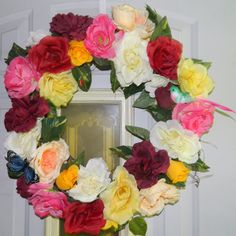 This wreath was made with roses and ivy.