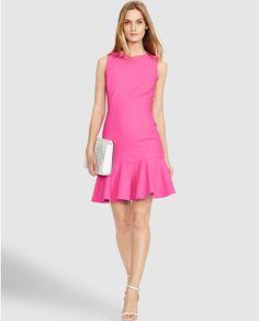 Vestido de mujer Polo Ralph Lauren en rosa con volante en el bajo