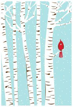 Winter Cardinal bird art print Birch Trees  l  strawberryluna