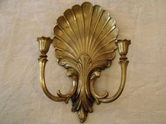 "Vtg  '81 Shell Wall Candle Sconce Syroco  Gold Hollywood Regency Chic 8"" x 15"""