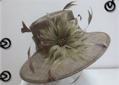 Ladies Light Brown/Taup Wide Brim Hat,Races,Formals,Weddings,Dressage,Hat Making