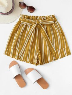 SHEIN offers Frill Trim Tie Waist Striped Shorts & more to fit your fashionable needs. Dress Outfits, Casual Outfits, Cute Outfits, Fashion Outfits, Men Casual, Cute Dresses, Short Dresses, Summer Outfits, Summer Dresses