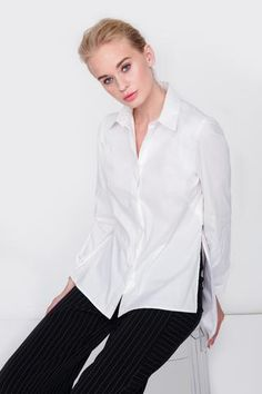 Modern take on a dress shirt with side slits, back flap and invisible zippers on... White Blouses, Dress Shirt, Zippers, Ready To Wear, Pairs, Spandex, Mom, Modern, Sleeves