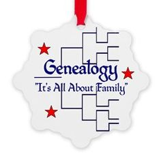 """Family Tree Chart Snowflake Ornament > """"It's All About Family"""" > Genealogy Store USA"""