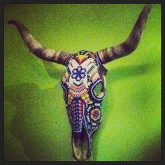 Beaded cow skull, Blue Corn Mexican Bar