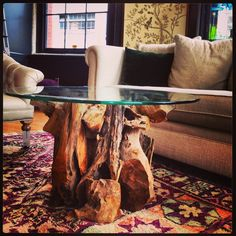 Rejuvenation Portland: Swoon-worthy root table with glass top