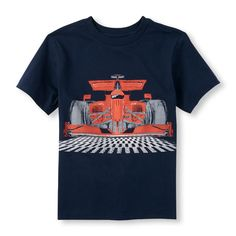 Boys Short Sleeve Racecar Graphic Tee