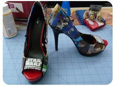 Now your shoes our decoupaged! At this point you're finished, unless you decide to add details like ribbon or crystals. I added a thin ribbon to my shoes to ...