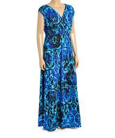 Look what I found on #zulily! Blue & Black Floral Surplice Maxi Dress - Plus #zulilyfinds