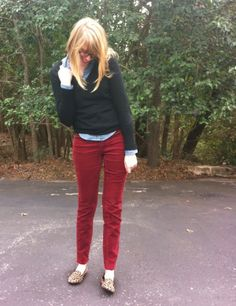 CHECK. red corduroy pants, sweater layered over chambray, flats #outfitinspo
