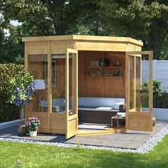 BillyOh Picton Corner Summerhouse – Summerhouses – BillyOh Store – do pallet Small Summer House, Corner Summer House, Summer House Garden, Home And Garden, Summer Houses, Garden Cottage, Wooden Summer House, Garden Buildings Direct, Summer House Interiors