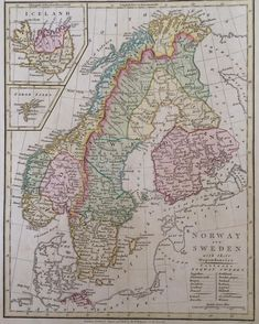 Scandinavia, Norway and Sweden, 1808 Century, Europe, Sweden) Old Maps, Antique Maps, Vintage World Maps, Norway Map, Kingdom Of Sweden, Map Crafts, Geography Map, Birth Records, Alternate History