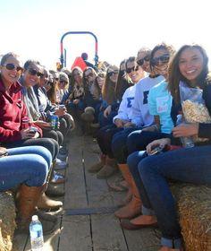 Sigma Kappa at Radford went on a hayride for a sisterhood event.