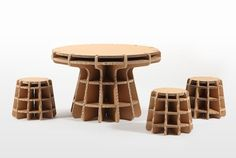 cardboard furniture for kids, designed by Masahiro Minami for Tsuchinoco, Japan