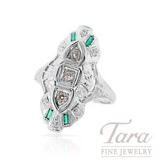ESTATE 14K White Gold Diamond & Emerald Ring | Tara Fine Jewelry Company, Atlanta. Jewelry Companies, White Gold Diamonds, Turquoise Bracelet, Emerald, Atlanta, Fine Jewelry, Bracelets, Rings, Vintage
