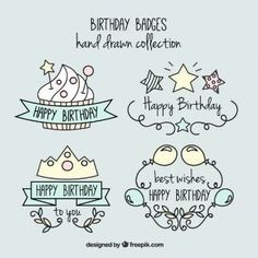 Hand drawn nice and enjoyable birthday badges Free Vector Birthday Doodle, Birthday Badge, Happy Birthday Best Wishes, Happy Birthday Cards, Doodle Drawings, Doodle Art, Planner Doodles, Doodle Lettering, Message Card