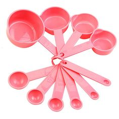 10Pcs Baking Cup Spoon Set Tablespoon Measuring Tool Pink Kitchen Cooking Divine | eBay