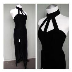 Vampy Black Velvet Cage Cut Out Gown w  High Cut Side Slit - Goth Fetish  Dominatrix - size Small Medium 7c6598206