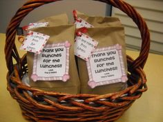 """This is such a cute idea for Cafeteria appreciation day! We got their favorite treats put it in a bag and wrote the phrase """"Thanks for the Bunches of Lunches"""". They loved it! Teacher Treats, Teacher Gifts, Classroom Treats, Service Projects For Kids, Staff Gifts, Teacher Appreciation Week, Employee Appreciation, Gift Tags Printable, Kids Writing"""