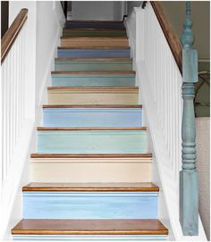 Beach cottage stairs ... only in country colors for the basement stairs