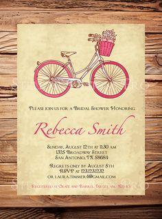 Bridal shower InvitationPink Bike wedding por StellarDesignsPro