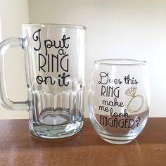 S Engagement Gift I Put A Ring On It Beer Mug Does This Make Me Dinner Ideasengagement Party