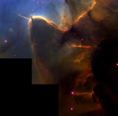 This NASA Hubble Space Telescope image of the Trifid Nebula reveals a stellar nursery being torn apart by radiation from a nearby, massive star. The picture also provides a peek at embryonic stars forming within an ill-fated cloud of dust and gas, which is destined to be eaten away by the glare from the massive neighbor. This stellar activity is a beautiful example of how the life cycles of stars like our Sun is intimately connected with their more powerful siblings.