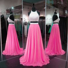 Pink Orange Prom Dresses, Perfect A-line Halter Party Dresses, Chiffon Backless Formal Dresses, Two Piece Prom Dresses, Long Graduation Dresses